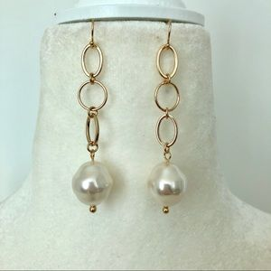 Links and Faux Pearls Earrings